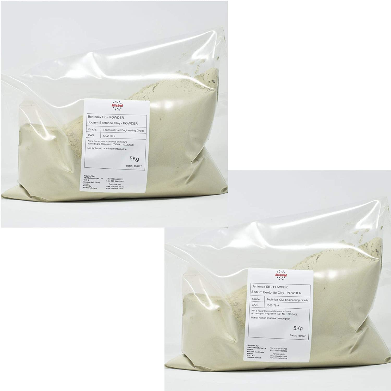Sodium Bentonite Clay 5Kg MISTRAL Bentonex SB Lake /& Pond Sealer Pottery /& ceramics Civil Engineering Grade 2 Powder