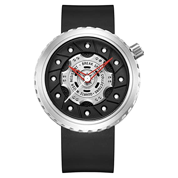 Reloj de pulsera deportivo Break original, de lujo, con correa de goma negra, resistente al agua, con diseño de rueda y a la moda para hombre: Amazon.es: ...