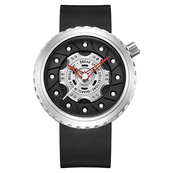 Reloj de pulsera deportivo Break original, de lujo, con correa de goma negra,