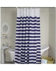 WeAre Croix Home Bleu Et Blanc A Rayures Tissu Salle De Bain Rideau Douche