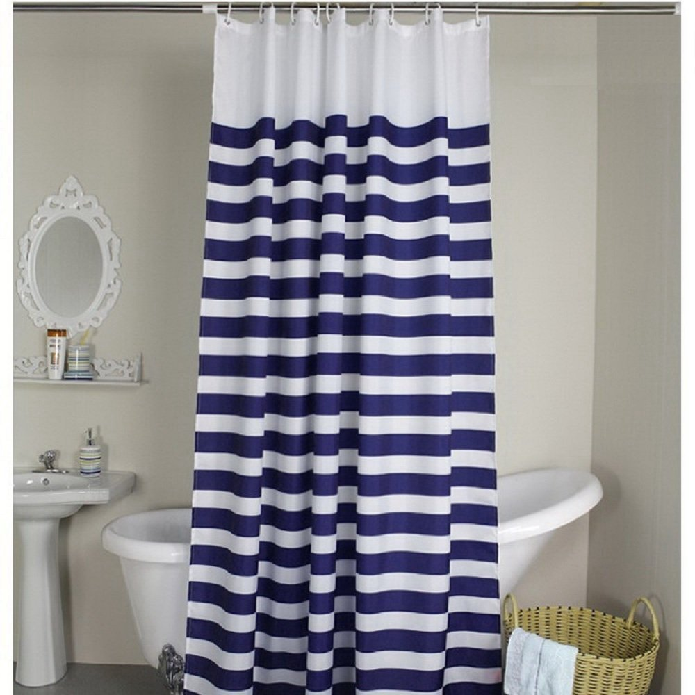 Weare Home Rideau De Douche Motif Rayures Bleu Et Blanc Style Marine