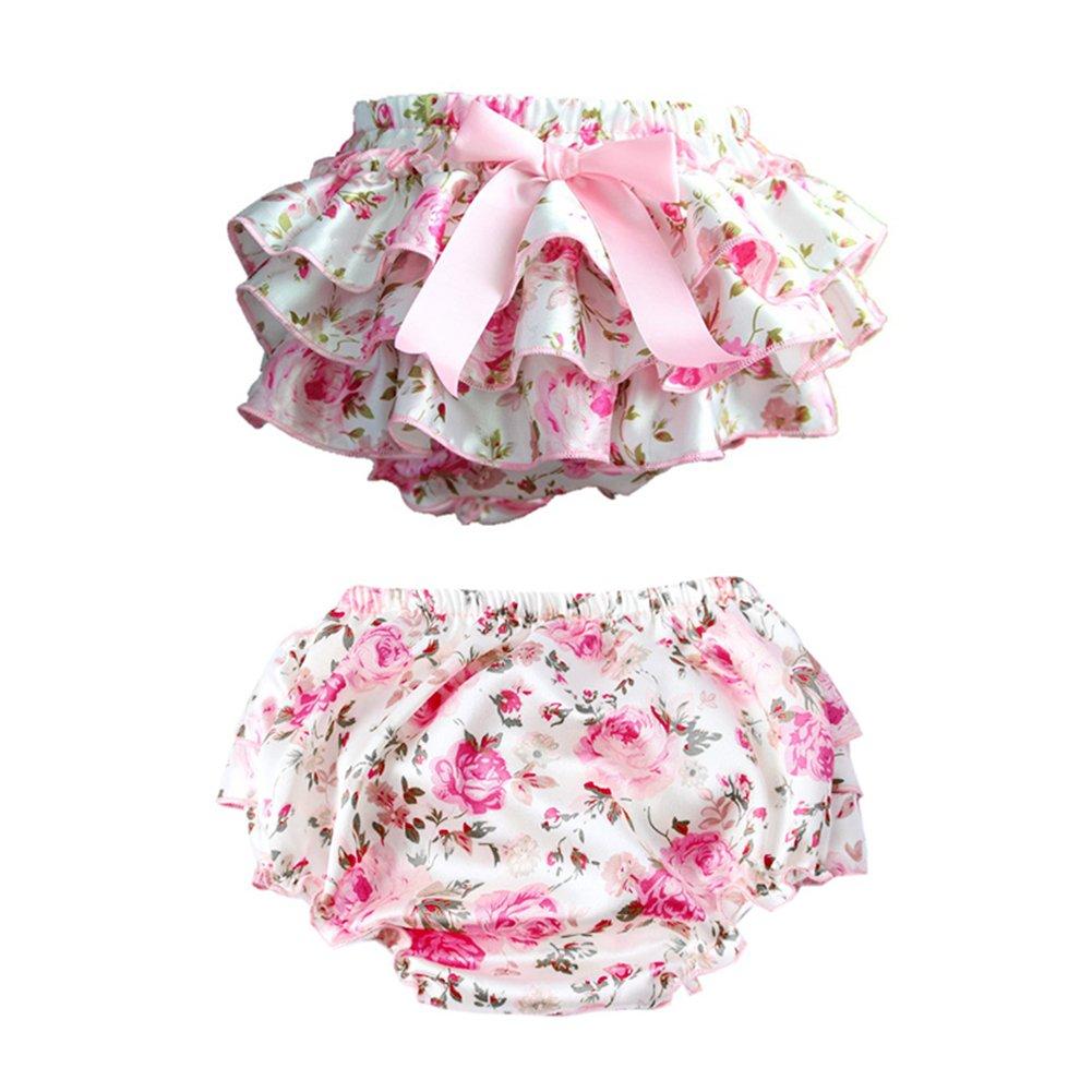 Culotte B/éb/é Fille Satin Floral PP Pantalon Rose Couvre-Couches Dentelle pour 0-3 Ans Prop Photographie Mignon Lace//Fleur Blanc L