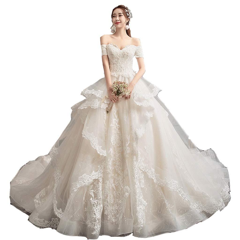 Wedding Dress VShaped Wedding Dress Hepburn Wedding Dress Star Wedding Dress (Size   M)