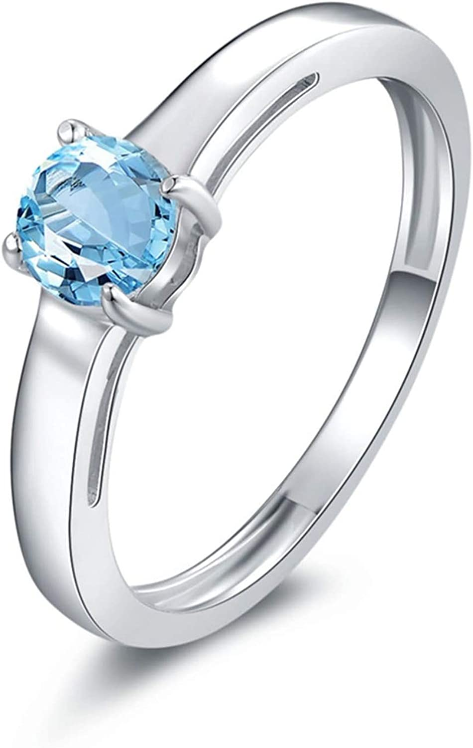 AMDXD Jewellery 925 Sterling Silver Wedding Ring Girls Round Cut Topaz Round Rings