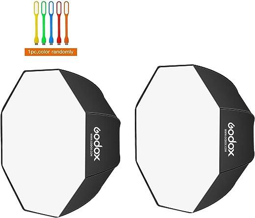 "Godox 32""/80cm Umbrella Octagon Softbox, Studio Flash Reflector, Speedlight Octagonal Soft box with Carrying Bag for Portrait, Product Photography (32inch/80cm--2pcs)"