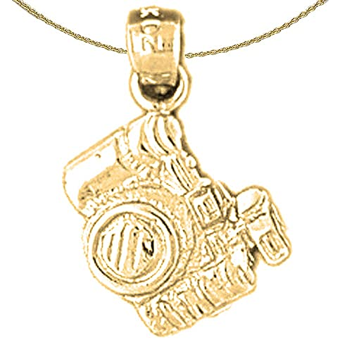 Jewels Obsession 3D Telephone Necklace 14K Yellow Gold-plated 925 Silver 3D Telephone Pendant with 16 Necklace