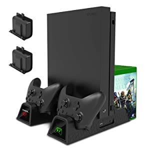 Charging Stand for Xbox One/Xbox One S/Xbox One X Console and Controllers, Vertical Cooling Stand Accessories with 2 Cooling Fans,600 mAh Batteries 2 Pack,LED Indicators and Games Storage