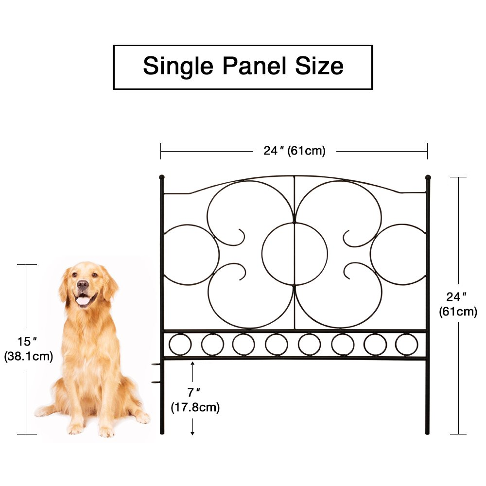Gray Bunny GB-6885 Landscaping Garden Fence, Set of 5 Black Panels, 24 x 24 in Per Panel, Rust Proof Cast Iron Metal Movable Wire Border Picket Edging Folding Decor Fences for Flower Bed/Pet Barrier by Gray Bunny (Image #2)
