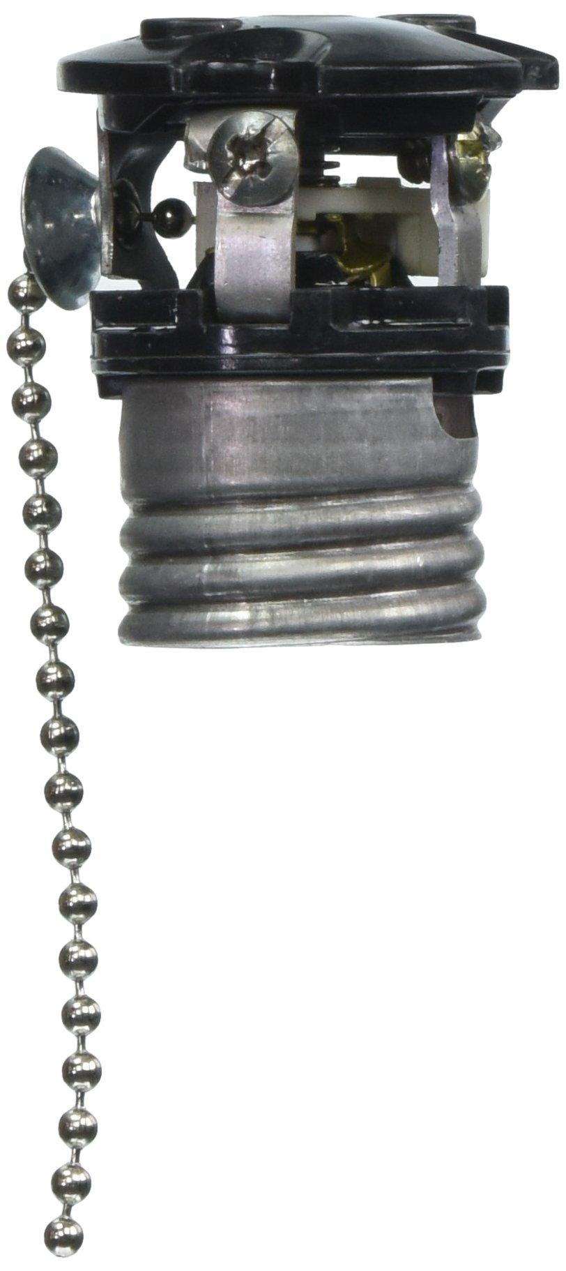 Leviton 9814-M Medium Base Interior Only, Shell Incandescent Lampholder, Pull Chain, Single Circuit