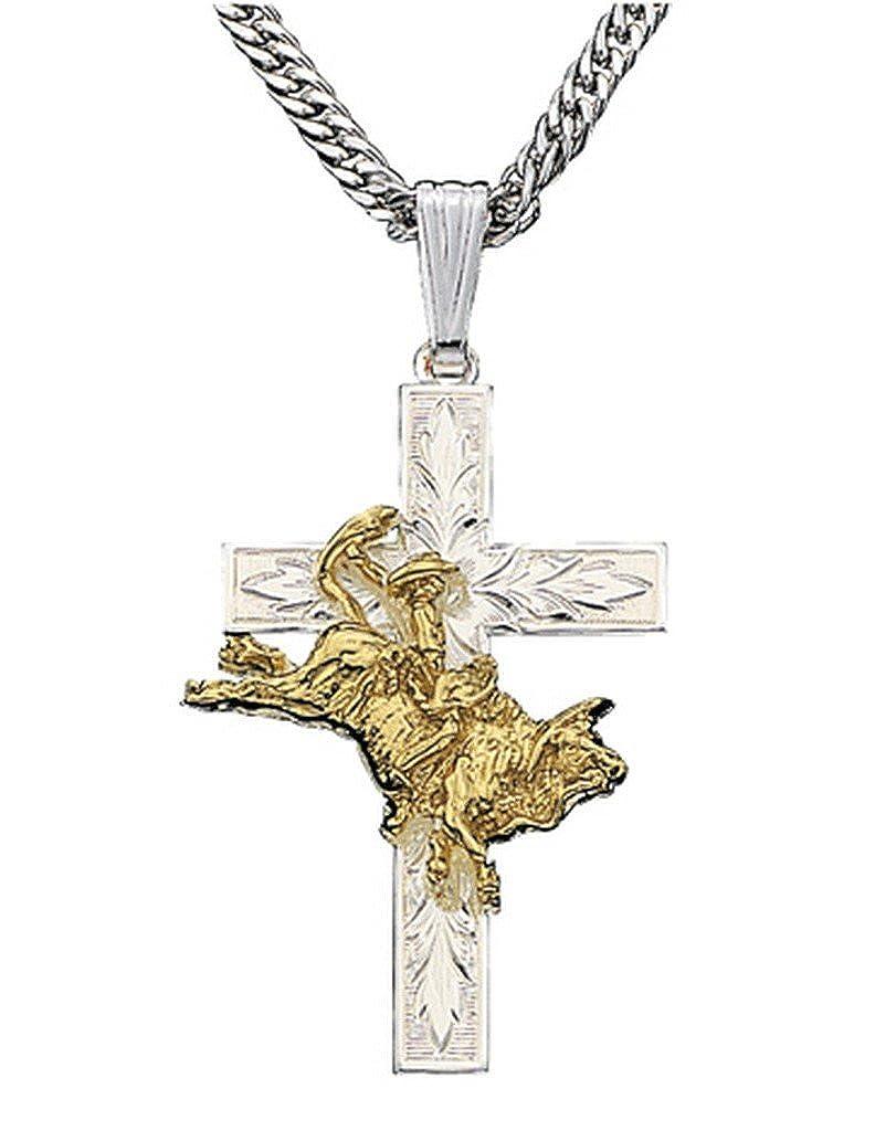 Montana Silversmiths Bull Rider Cross Necklace