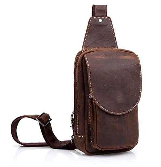 5c59445e4c Everdoss Mens Genuine Leather Crossbody Chest Pack Sling Shoulder Bag for  Camping Hiking Bicyling  Amazon.co.uk  Clothing