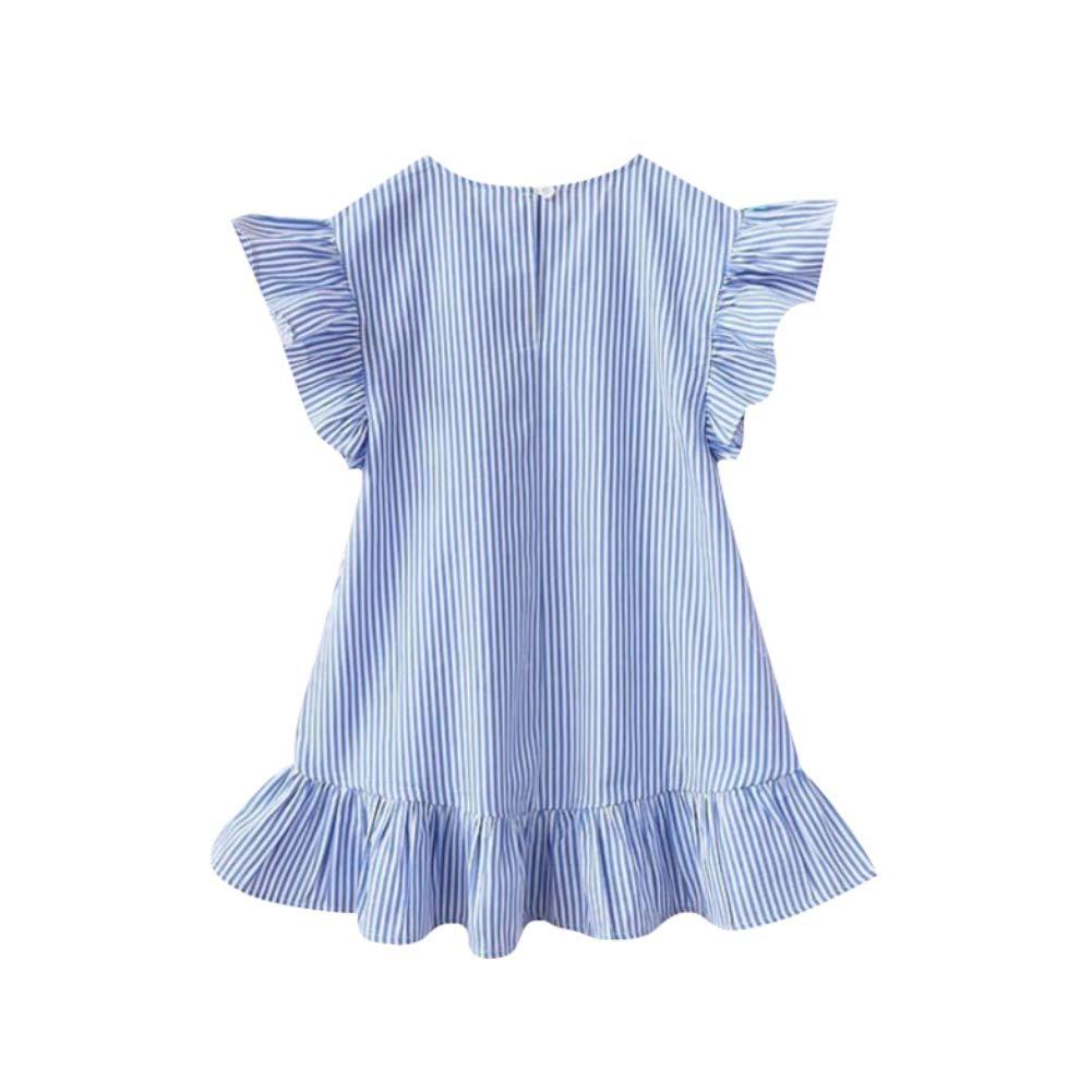 Yutang Girls Ruffle Sundress Striped Tassel Short Sleeve Princess Dress Baby Baby Stripe Tassel Ruffles Princess Dresses