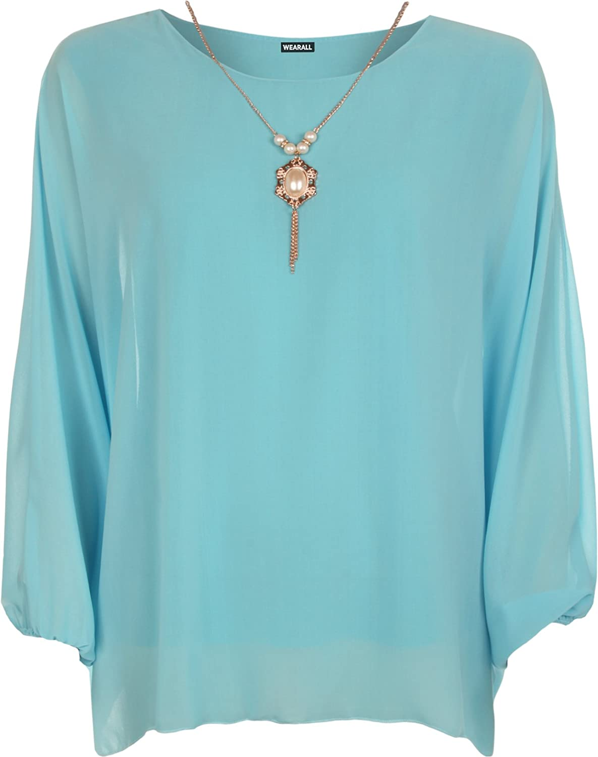 WearAll Plus Size Womens Chiffon Sheer Lined Necklace Ladies Batwing Sleeve  Top 14-18: Amazon.co.uk: Clothing
