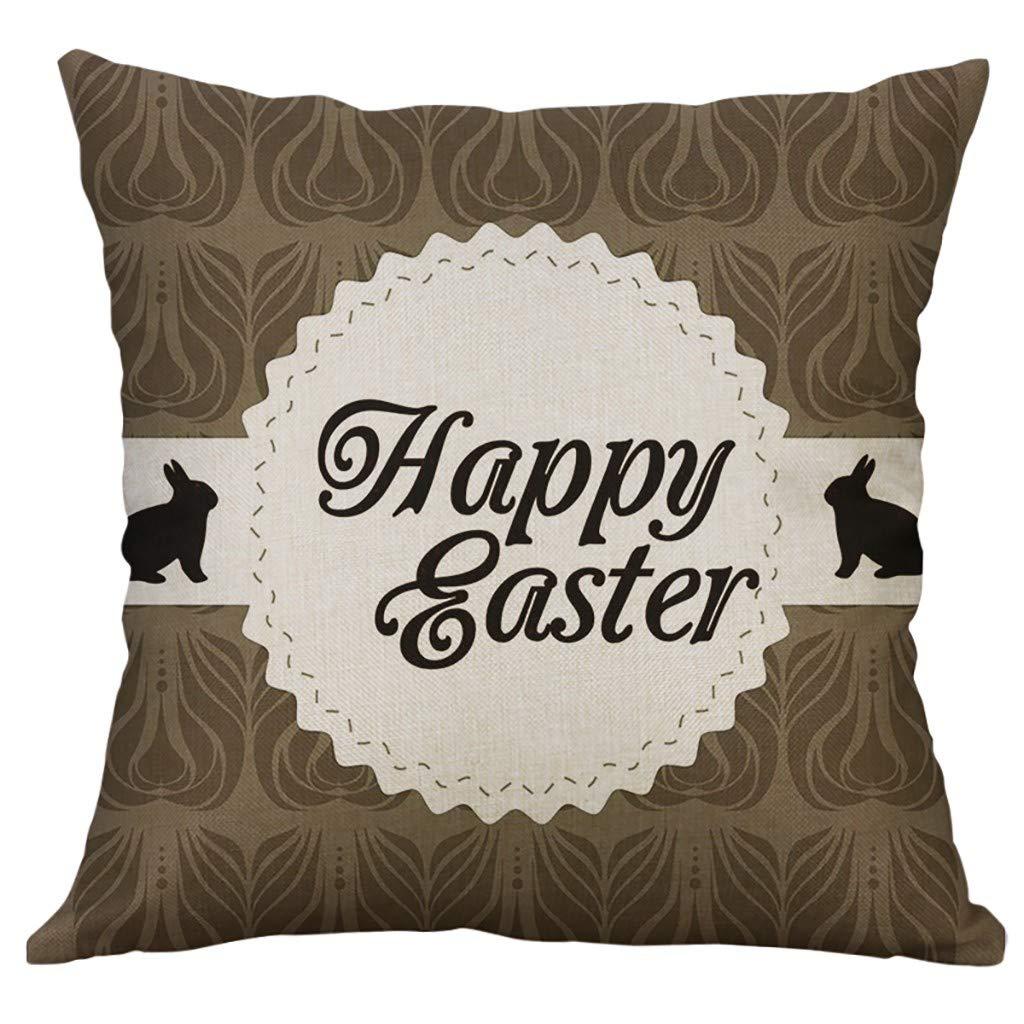 Linen Square Throw Pillow Case Decorative Cushion Cover CartoonCute Bunny Easter Eggs Printing Pillowcase 18 ''X18