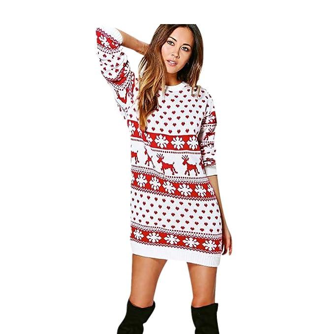 Hiroo Mini Abito Manica Lunga da Donna con Stampa Natalizia Maglieria  Accostare Pullover Jumper Maglione Felpa 53b4fda3300c