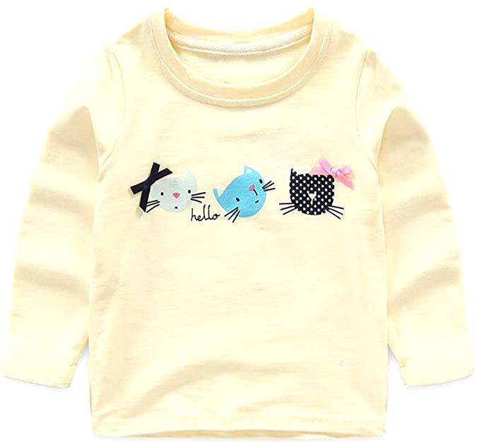 cxx - niña de dibujos animados gato impreso cuello redondo manga corta camiseta: Amazon.es: Ropa y accesorios