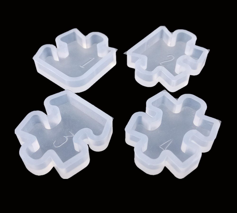 Honbay 4pcs Mini Puzzle Silicone Jewelry Earring Necklace Pendant Making Mold DIY Handmade Craft Tool