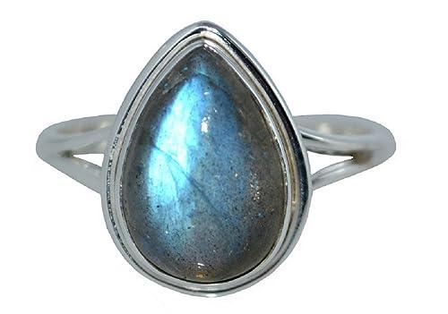 Plata de Ley Natural Labradorita anillo, feldespato. Auténtica Gemstone hecho a mano joyas regalo, 925: Amazon.es: Joyería