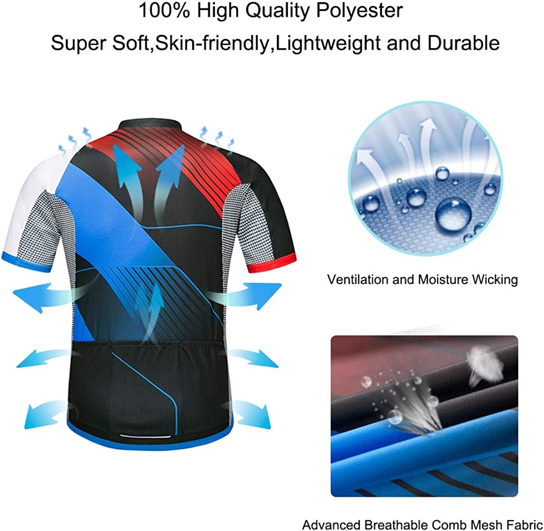 Wantdo Cycling Jersey for Men Short Sleeve Biking Shirt with 3 Rear Pockets