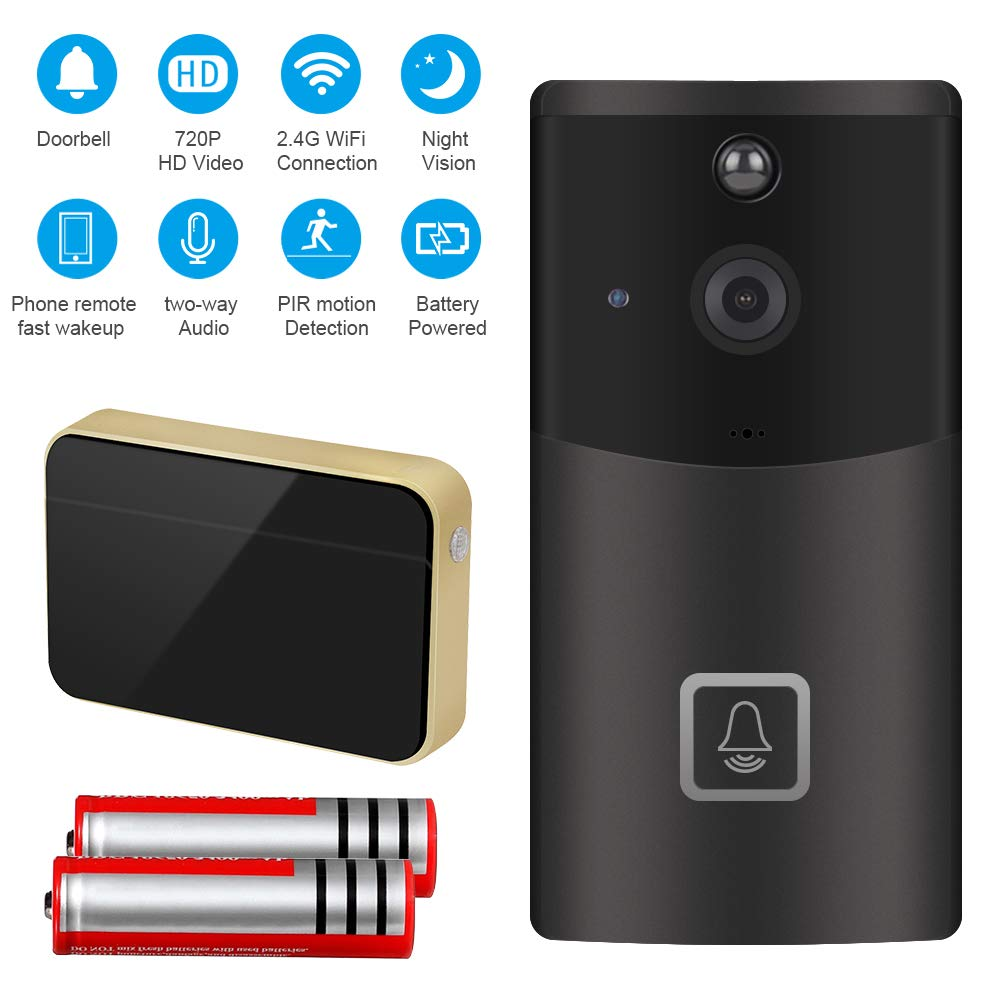 ZhiLiao Smart Home WiFi Video Doorbell 720P HD Security Camera with Two-Way Audio 166-Degree Wide Angle Lens Night Vision PIR Motion Detection Wireless doorbell
