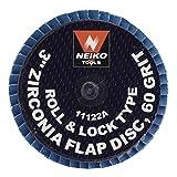 Neiko Roloc Type 3-Inch Flap Disc, Zirconia, 60 Grit, 10 Pieces