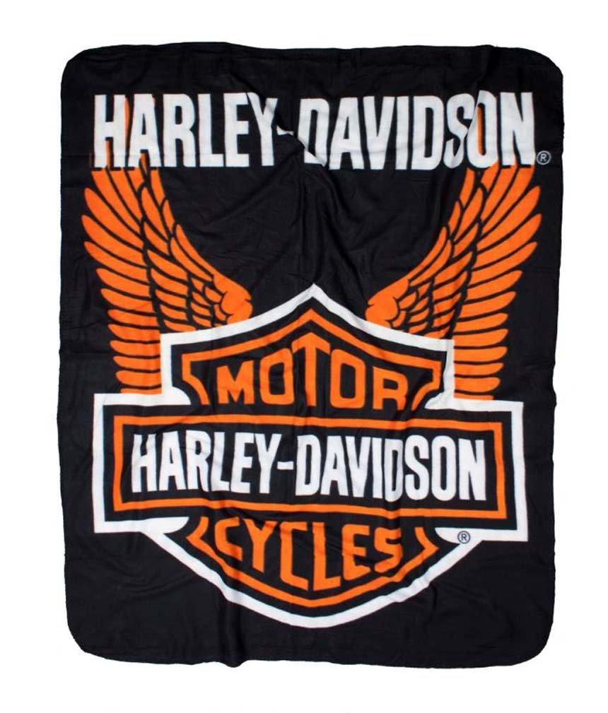 Harley-Davidson Wings Fleece Throw Blanket 50'' x 60'' Black & Orange NW918580
