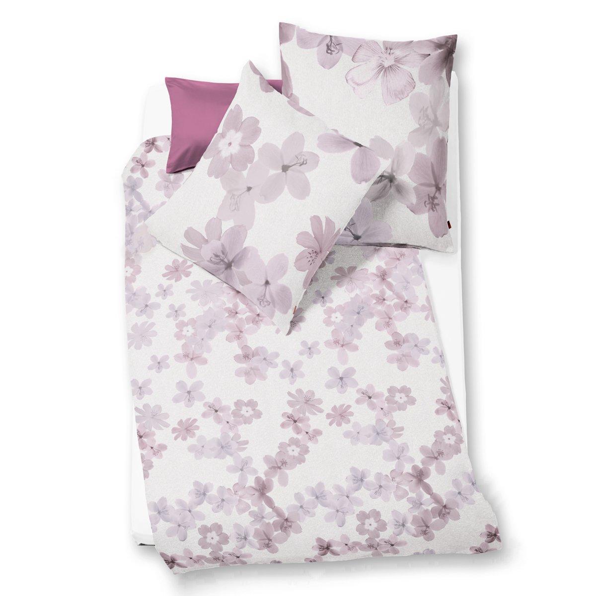 Fleuresse Mako Satin Bettwäsche Modern Garden Blütenpracht Berry Rosé Silber, Größe 135x200cm Bettwäsche