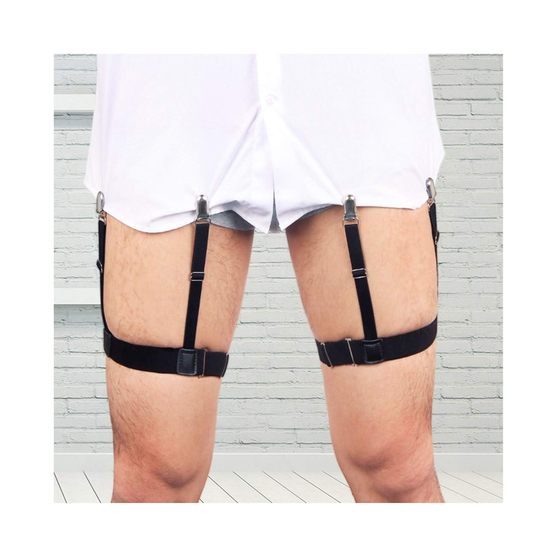 2 Pcs Men Shirt Stays Belt with Non-slip Locking Clips Keep Shirt Tucked Leg Thigh Suspender Garters Strap