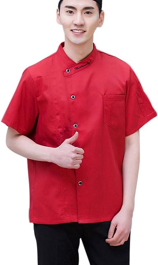 Wangjie Chaqueta de Chef Camisa de Camarero Uniforme de Trabjo para Pastelería Restaurante de Manga Corta Transpirable Suave Rojo L: Amazon.es: Hogar