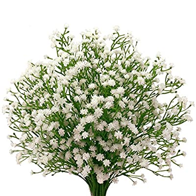 "Senjie 9pcs Artificial Flowers 21"" Gypsophila Baby Breath Bouquets Silica Gel for Wedding Home DIY Decor White"