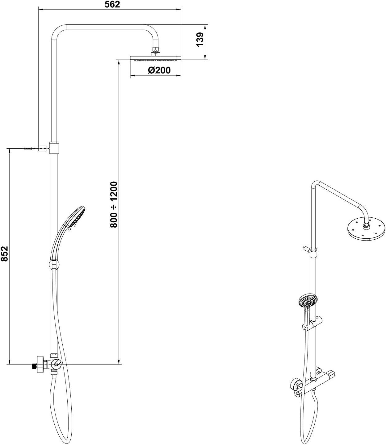 Gala onis - Columna ducha termostatico extensible onis: Amazon.es ...