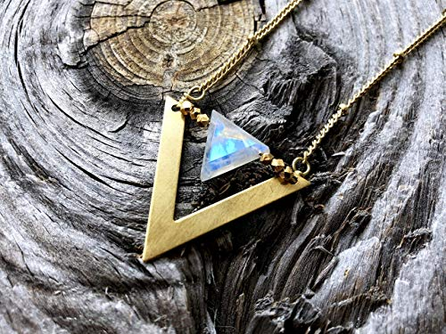 (Raw moonstone necklaces for women Crystal triangle pendant June birthstone Rainbow labradorite jewelry for women)