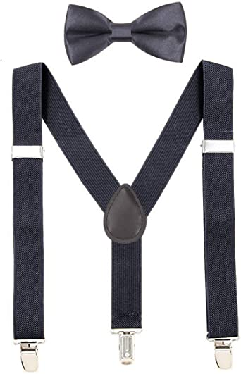 Why DonT We Unisex Kids Adjustable Y-Back Suspenders With Bowtie Set