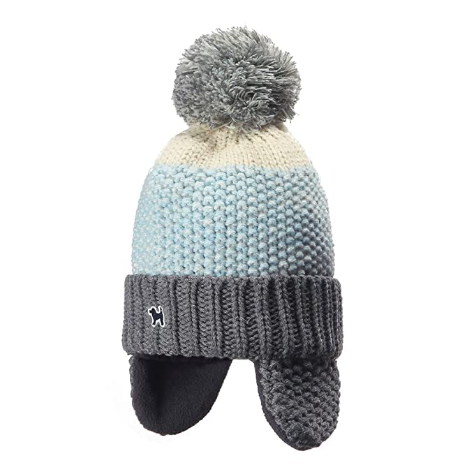 3b8b554fc92134 YJH Kids Cuff Knit Beanie Baby Toddler Children Warm Pom Winter Hat with Earflap  Blue
