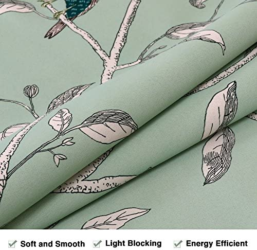 H.VERSAILTEX Ultra Soft Textured Kitchen Curtains Birds Pattern Rustic Curtain Tiers Pair for Caf Bath Laundry Bedroom Kitchen Windows Rod Pocket Small Curtains – 58 W x 45 L Pair
