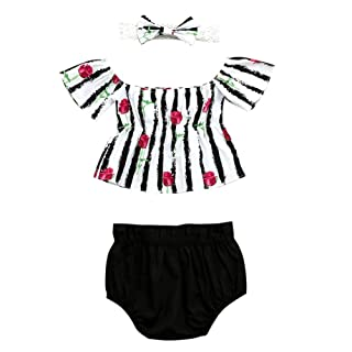 Tracfy Baby Girls Rose Striped Tops Shirt Black Shorts Outfit with Headband
