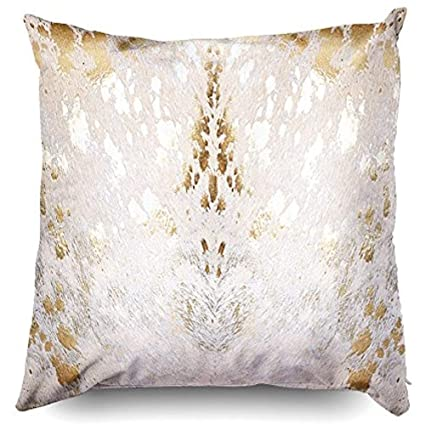 Amazon 40JimNic Throw Pillow Case 40 X 40Cowhide White Gold Extraordinary How To Wash A Decorative Pillow