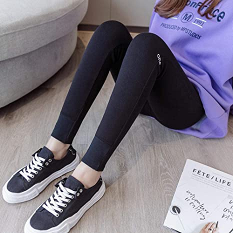Usar Debajo de Leggings, algodón otoñal, Bordado de Cintura Alta, Pantalones elásticos, Nueve Pantalones: Amazon.es: Deportes y aire libre