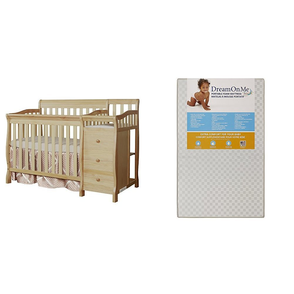 Dream On Me Jayden 4 in 1 Convertible Portable Crib w/ Changer with Dream On Me 3 Portable Crib Mattress, White