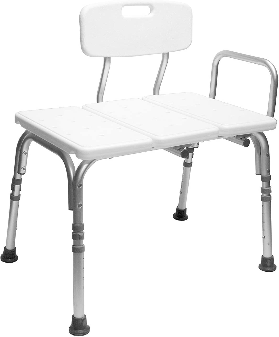 Carex Tub Transfer Bench - Shower Chair Transfer Bench with Height Adjustable Legs - Convertible to Right or Left Hand Entry 61-OMFiVvuL