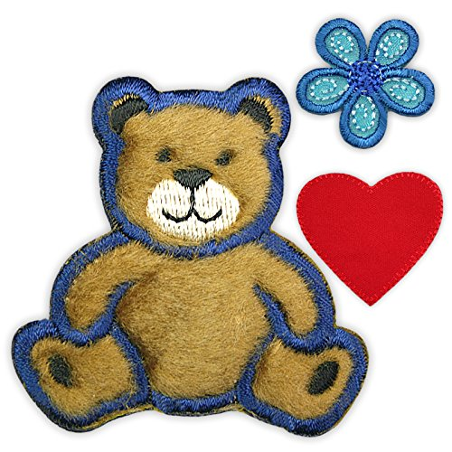 Altotux Small Brown Fuzzy Teddy Bear Red Heart Blue Flower Kaylee Firefly Costume Embroidered Sew on Patches Applique DIY Cosplay Craft (Firefly Kaylee Patches)