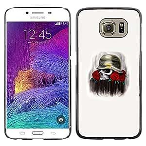 LECELL--Funda protectora / Cubierta / Piel For Samsung Galaxy S6 SM-G920 -- Solider Rose Skull Death Flowers War --