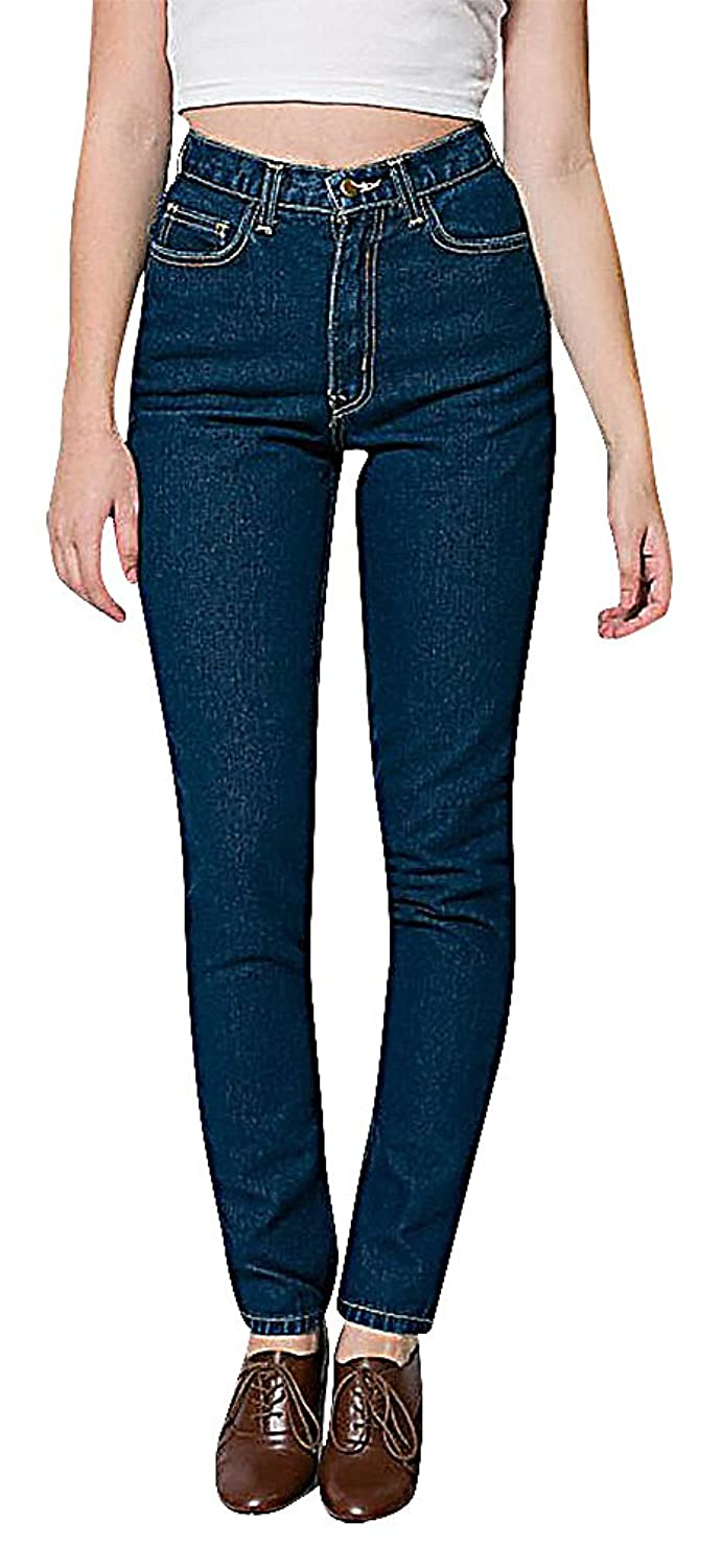 ALLEGRA Women's Comfortable Casual Denim Mid Waisted Straight Jeans