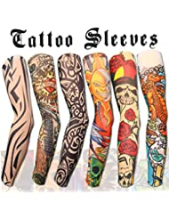 69e7f0f3c Akstore 6pcs Set Arts Fake Temporary Tattoo Arm Sunscreen Sleeves Designs  Tiger, Crown Heart,