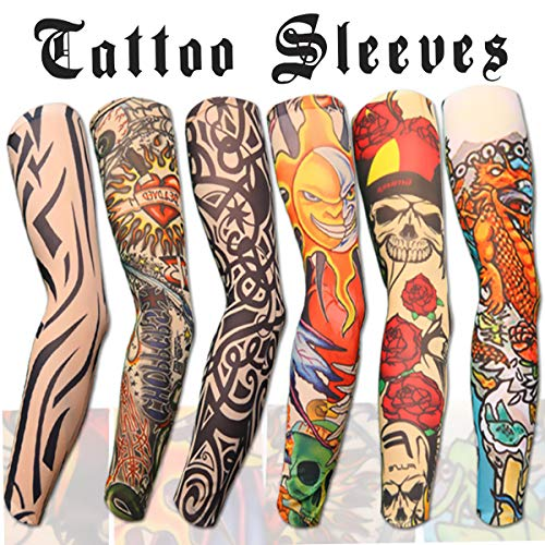 Skull And Roses Tattoo Sleeve (Akstore 6pcs Set Arts Fake Temporary Tattoo Arm Sunscreen Sleeves Designs Tiger, Crown Heart, Skull, Tribal and)