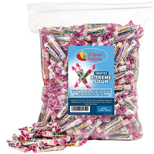 - Smarties Candy Rolls Bulk - X-Treme Sour Flavored Candies, 4LB Party Bag, Family Size, Bulk Candy