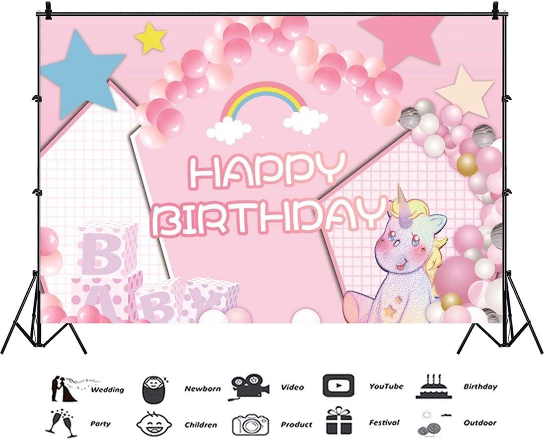 Yeele 10x8ft Cartoon Unicorn Birthday Background for Photography Happy Birthday Party Decoration Rainbow Pink and White Balloon Boy Girl Child Photo Backdrop Portrait Studio Props