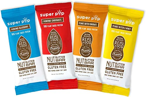 Super Pop Snacks, Plant Based Protein Bar, Creamy Protein Crisp Bar with Nut Butter, Made with Whole Foods, Gluten Free Protein Bars, Dairy Free, 10g of Protein, Variety Pack 1.9 oz, 8 Pack