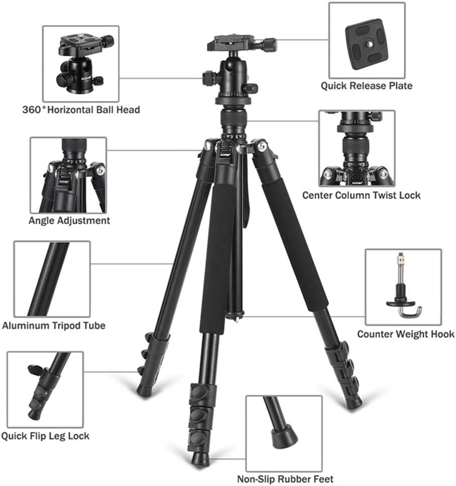 BWAM-elck Travel Tripod Monopod Aluminum Tripod Flexible Portable Camera Tripod Stand Tripe with Ball Head for DSLR Camera Smartphones Ideal for Travel and Work Color : Blue, Size : One Size
