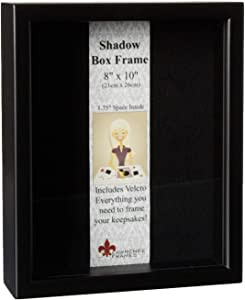 Lawrence Frames 790080 Black Wood Shadow Box Picture Frame, 8 by 10-Inch